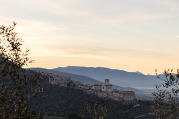 Beautiful and unusual view of Assisi (Umbria) at dawn, with some