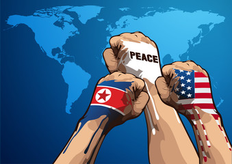 peace vector illustration, United States of America, and North Korean, you can place relevant content on the area.