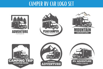 RV Camper Adventure Logo Designs Template Set