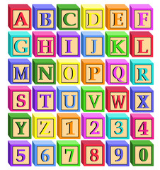 cartoon alphabet letters blocks and numbers