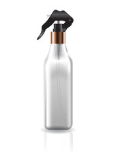 Blank clear cosmetic square bottle with black spray head and copper neck for beauty product packaging. Vector illustration.