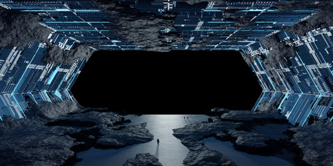 Huge asteroid spaceship interior 3D rendering elements of this image furnished by NASA