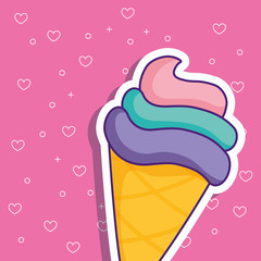 ice cream cone icon over pink background, colorful design. vector illustration