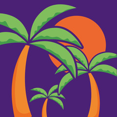 tropical palms and sun over purple background, vector illustration