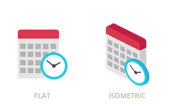Calendar flat and isometric vector icons