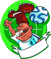 soccer fan with crampon and  football ball shaped hat cartoon style vector illustration.
