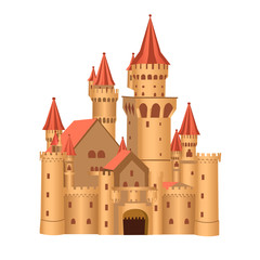cartoon castle isolated on a white background