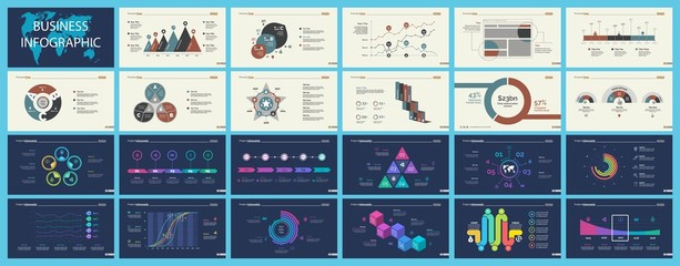 Set of analysis or statistics concept infographic charts