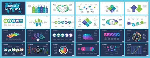 Set of company structure and workflow concept infographic charts