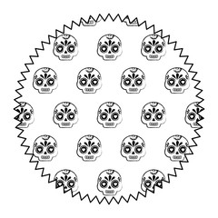 seal stamp with Sugar skulls pattern over white background, vector illustration
