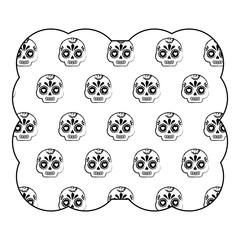 decorative frame with Sugar skulls pattern over white background, vector illustration
