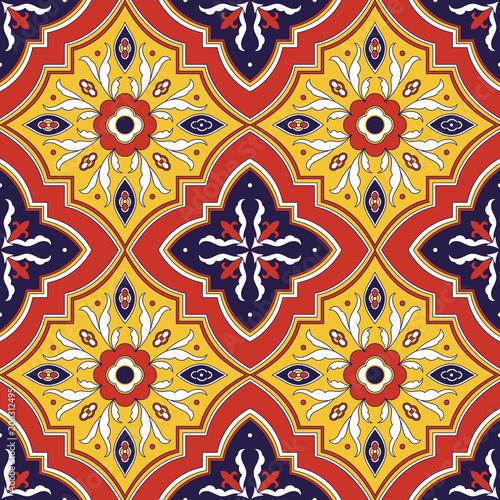 Spanish Tile Pattern Vector Seamless With Fl Ornaments Portuguese Azulejo Mexican Talavera Italian