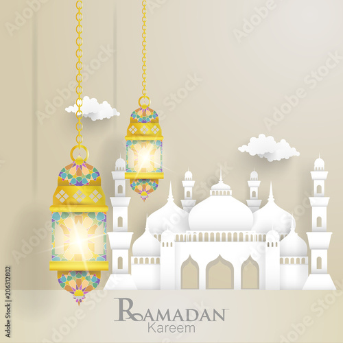 illustrations of ramadan with mosques and lantern  for cards