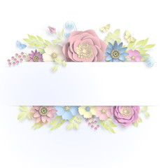 Banner template floral paper art with butterfly vector stock illustation