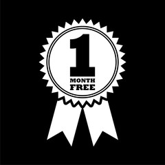 First month free sign icon, One month free on dark background