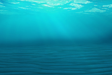 Underwater blue background in sea, ocean, with volume light. 3d rendering