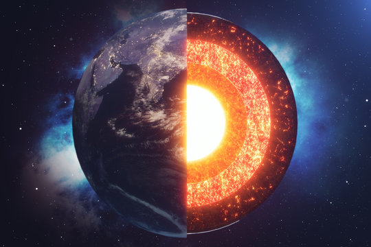 Structure core Earth. Structure layers of the earth. The structure of the earth's crust. Earth cross section in space view. Elements of this image furnished by NASA. 3D rendering.