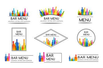 Bar menu design collection. Set of badges and labels.