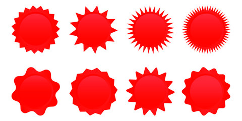 Set of red sale star tag, retro blank starburst, sunburst badges. Vector illustration.
