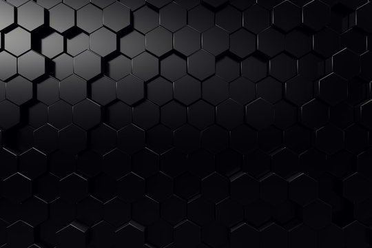 Abstract geometric surface. Hexagonal black background. 3D Rendering