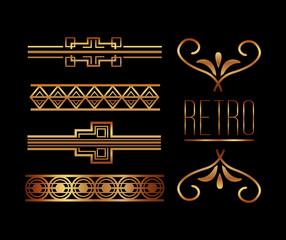 borders ornate gold decoration vintage retro style