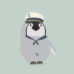 baby penguin sailor vector