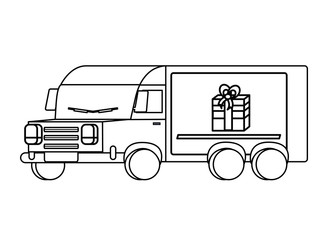 cargo truck with gift box icon over white background, vector illustration