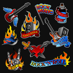Vector set of rock tattoos. Bottle with ribbon, guitar and audio speaker, heart and swallow bird, skeleton hand with devil horns gesture