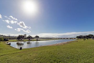 Blue Lagoon Estuary and  Cloudy Coastal Skyline