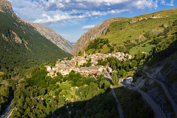 The village of La Grave in morning summer light. Romanche Valley, Ecrins National Park, Southern Alps, Hautes-Alpes, France