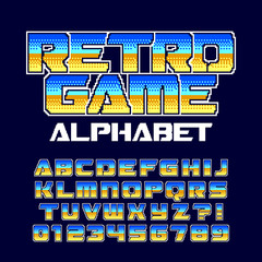 Retro computer game alphabet font. Pixel gradient letters and numbers. 80's arcade video game typography.