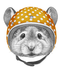 Portrait of  Mouse with helmet, hand-drawn illustration