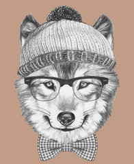 Portrait of Hipster, portrait of Wolf with sunglasses, hat and bow tie,  hand-drawn illustration