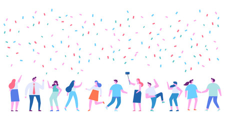 Party. Different people dancing and celebrate. Cartoon style, flat vector illustration.