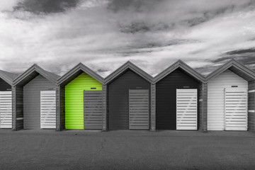 Beach Huts-Spot Colour - Blyth. UK