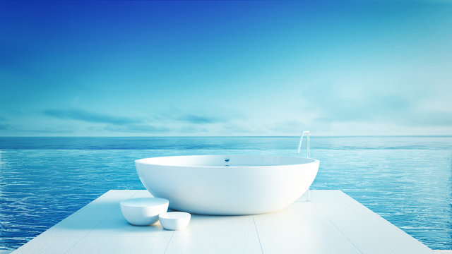 Beach bathroom - Luxury and modern hotel / 3D render interior