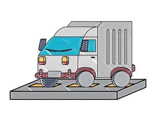 cargo truck icon over white background, colorful design. vector illustration