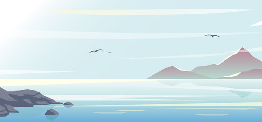 Vector illustration of beautiful blue sea, sky background and mountains, morning time, ocean in flat style and pastel colors.