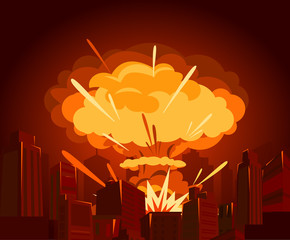 Vector illustration of atomic bomb in city. War and end of world concept in flat style. Dangers of nuclear energy.