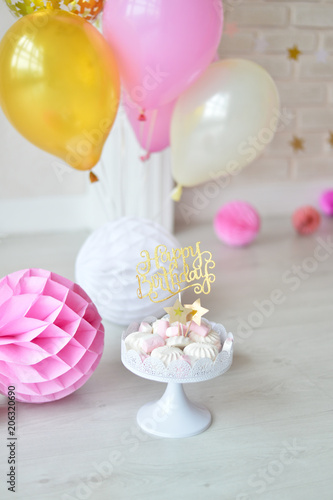 One Year Birthday Decorations For Holiday Party A Lot Of Balloons Pink And