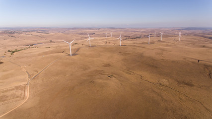 Aerial view of offshore wind turbine farm in Australia mountains