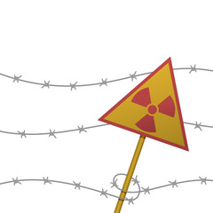 nuclear icon on a barbed wire fence isolated on white background. radioactive zone sign. vector illustration