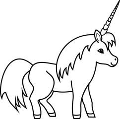 Coloring page. Cute cartoon unicorn