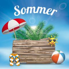 Sommer Holztafel mit Sonnenschirm, Palmen, Flip Flops, Strandball und blauen Himmel