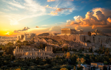 Self adhesive Wall Murals Athens Akropolis von Athen bei Sonnenuntergang
