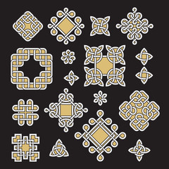 Chinese and celtic endless knots and patterns vector set.