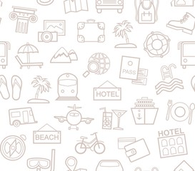 Travel, vacation, tourism, recreation, seamless pattern, outline, white, vector. Different types of holidays and ways of travelling. Gray line drawings on a white field. Monochrome background.