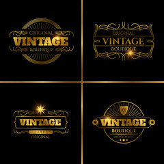 Retro labels design for vintage cards
