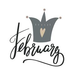 February  illustration. Lettering  February.