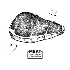 Sirloin steak vector drawing. Red meat hand drawn sketch. Engraved food illustration.